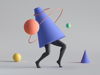 Fototapeta 3d render, abstract minimal surreal contemporary art. Geometric concept, cone, black legs walk, red ring, yellow ball isolated on white background. Modern fashion composition, funny freak performance obraz