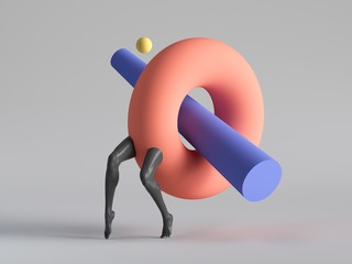 Obraz 3d render, abstract surreal contemporary art. Primitive colorful geometric shapes: red torus donut, black legs walk, isolated on white background. Modern fashion design, funny freak show - fototapety do salonu