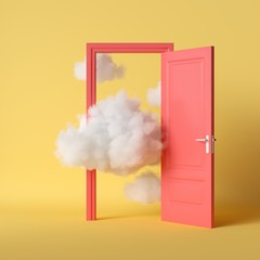 Obraz 3d render, white fluffy clouds going through, flying out, open red door, objects isolated on bright yellow background. Abstract metaphor, modern minimal concept. Surreal dream scene - fototapety do salonu