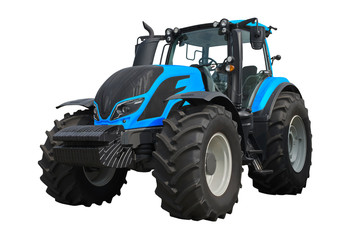 Modern agricultural tractor isolated on a white background