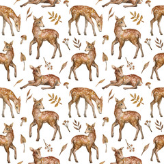 Watercolor seamless pattern with cute baby dappled deer. Wild little forest animals and plants. Background in nature style for children textile, wallpaper, wrapping, covers.