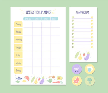 Weekly Meal planner and Shopping list with simple flat illustrations and stickers. Template for agenda, meal healthy planners, and other stationery. Isolated. Vector.