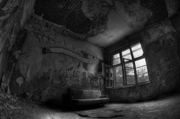 Abandoned hospital sanatorium Beelitz Heilstaetten, Germany in B&W