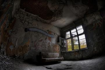 Canvas Prints Old Hospital Beelitz Abandoned hospital sanatorium Beelitz Heilstaetten, Germany