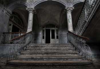 Acrylic Prints Old Hospital Beelitz Abandoned hospital sanatorium Beelitz Heilstaetten, Germany