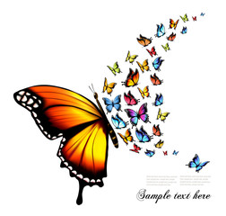 Beautiful nature background with colorful butterflies. Vector.