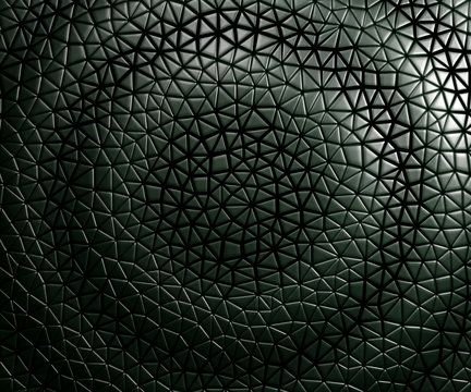 3D Seamless pattern asymmetric and geometric shaped leather background, light and dark gradients waving circular on black.
