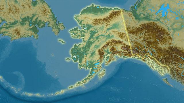 United States Alaska, topographic relief - light glow