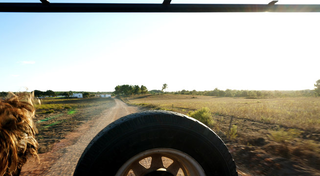 Spare Tire In Car On Dirt Road Against Sky