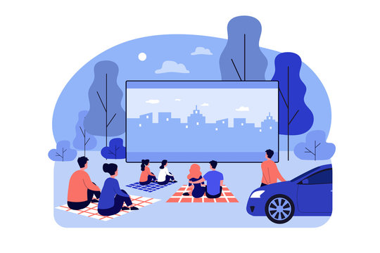 Outdoor cinema theater big screen. Friends and dating couples watching open air movie at night. Vector illustration for evening leisure, vacation, weekend concept