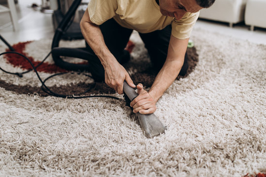 Process of deep carpet cleaning, dirt removing.