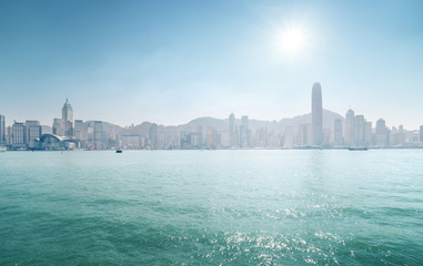 Fototapete - sunny Hong Kong harbour, China