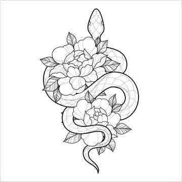 Hand drawing outline snake with flowers. Tattoo snake for Henna drawing and tattoo template. Vector illustration