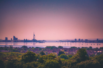 Landscape of the skyline in Portsmouth, UK showing Spinnaker tower, Gunwharf Quays, Portsmouth...