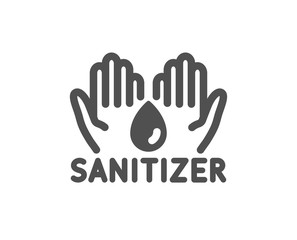 Hand sanitizer icon. Sanitary cleaning sign. Washing hands symbol. Classic flat style. Quality design element. Simple hand sanitizer icon. Vector