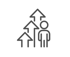 Employee result line icon. Business growth statistics sign. Human resource symbol. Quality design element. Editable stroke. Linear style employee result icon. Vector