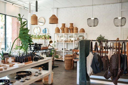 Interior of a stylish shop selling an assortment of items