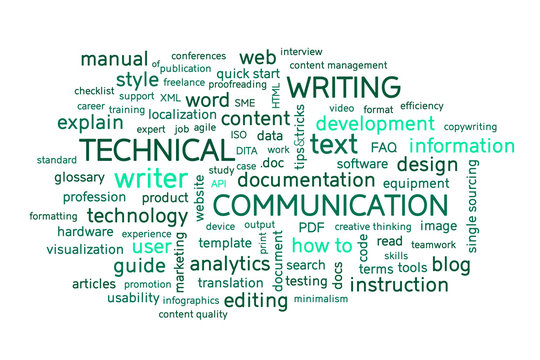 Technical writing word cloud. Technical writer or communicator, documentation, profession concept. Illustration.