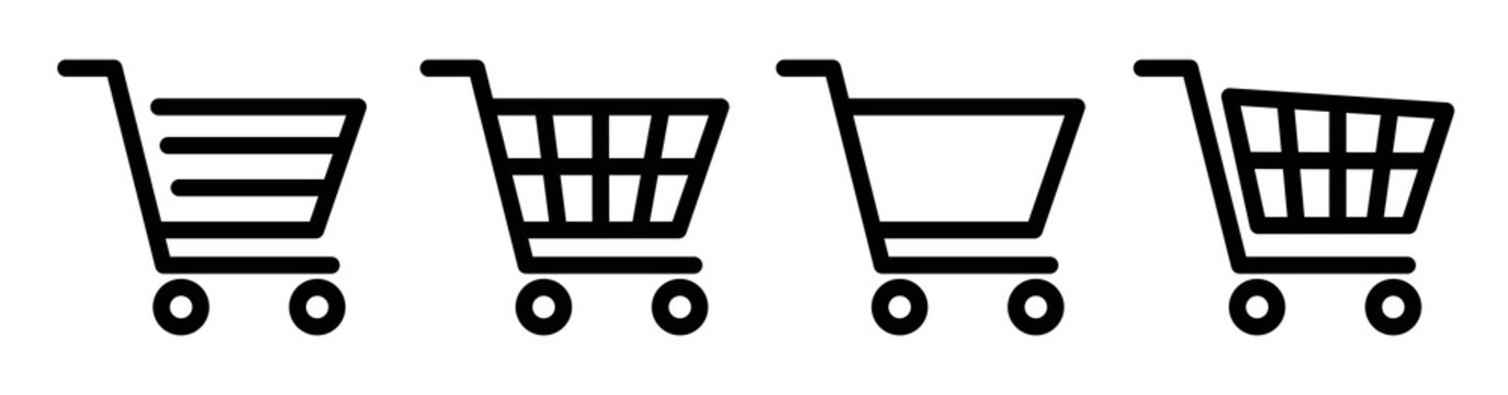 Shopping cart icon set.Shopping cart icon design collection.Vector diferends black shopping cart icons set. Vector illustration in flat stile