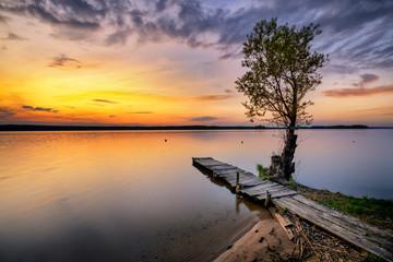 Beautiful summer sunset at lake