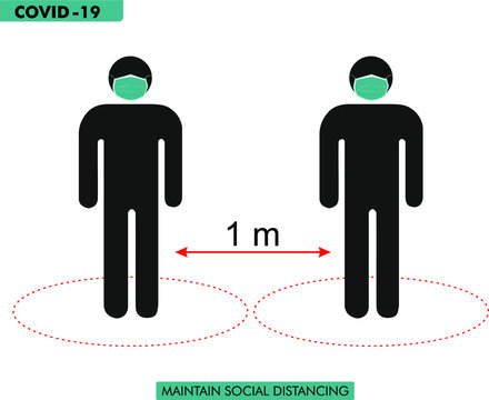 social distance at the time of covid 19. Two pictograms one meter away with mask