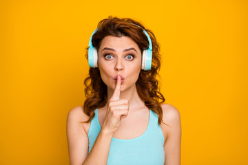 Shut up please. Photo of pretty funny lady listen modern technology youngster headphones favorite...