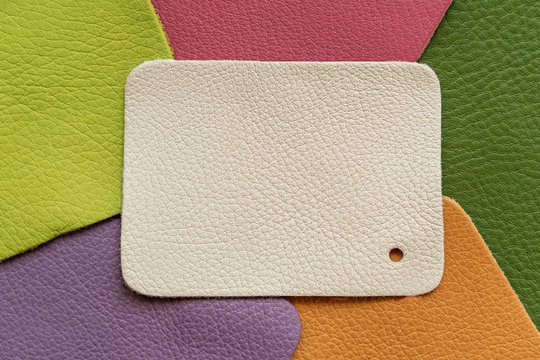 Set of colorful genuine leather pattern palette, texture samples, abstract background. Shopping and industry concept