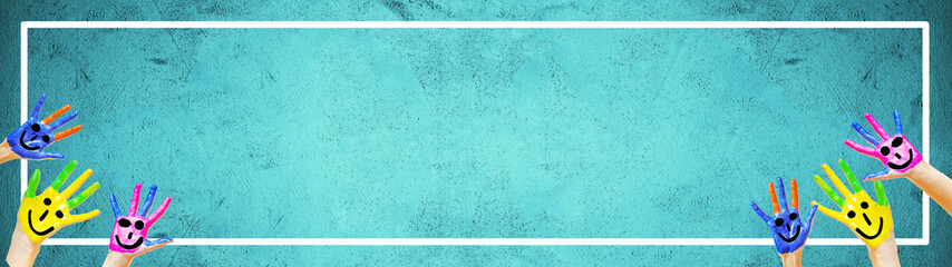 School / kindergarten background background banner panorama - Many brightly painted children's hands in front of a old aged empty turquoise aquamarine chalkboard with white frame and space for text