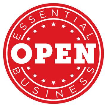 Essential Business Open Decal   Window Sticker for Restaurants & Necessary Industry   Door Sign   Circular Logo   Symbols & Resources