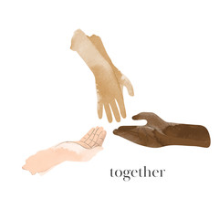 sharing hands illustration. hands reaching out to each other. friendship and support symbol.