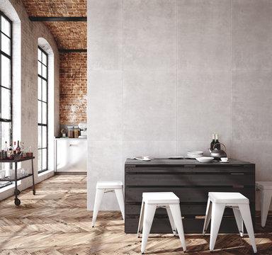 Loft apartment, kitchen interior, industrial style ,3d render