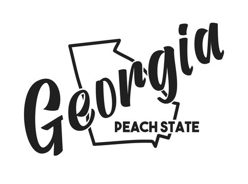 Vector illustration of Georgia. Nickname Peach State. United States of America outline silhouette. Hand-drawn map of US territory. Image for the USA poster, banner, t-shirt, print, decor