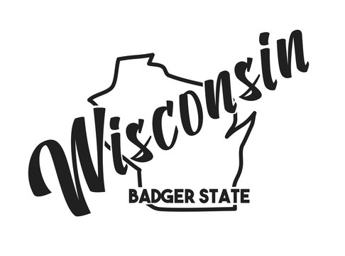 Vector silhouette of Wisconsin. Nickname inscription Badger State. Hand-drawn illustration map of the USA territory. Image for US poster, banner, print, United States of America card, t-shirt