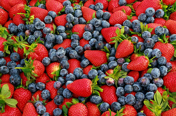 strawberries and blueberries varies fresh fruits photographed closely occupying the whole image