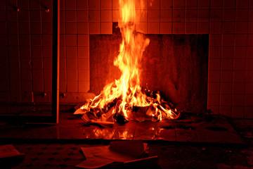 Paper Burning At Street During Night
