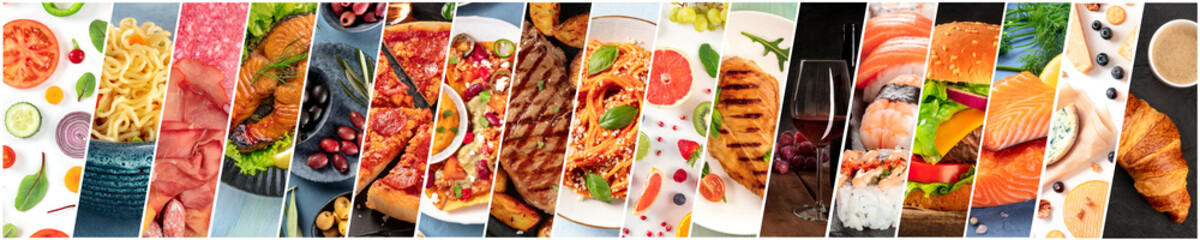 Food collage design template. Various tasty dishes, including a burger, a pizza, pasta, beef steak....