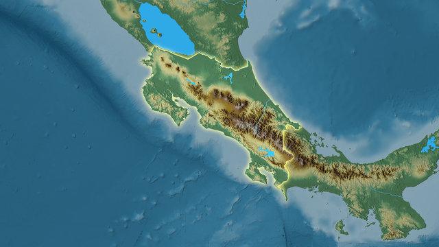 Costa Rica, topographic relief - light glow