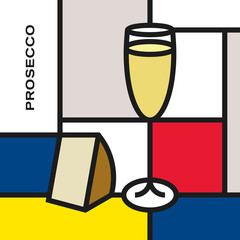 Prosecco glass with cheese. Modern style art with rectangular shapes. Piet Mondrian style pattern.