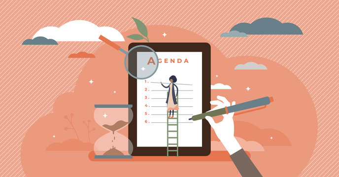 Meeting agenda vector illustration. Time schedule flat tiny persons concept