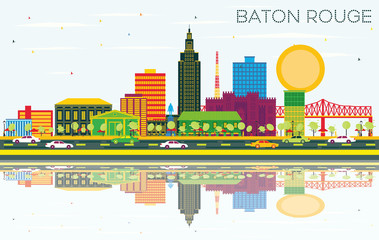 Fototapete - Baton Rouge Louisiana City Skyline with Color Buildings, Blue Sky and Reflections.