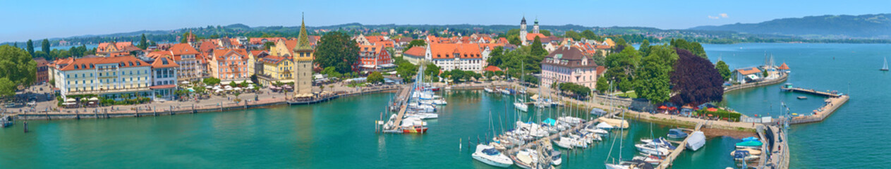 Panorama of Lindau harbor on Lake Constance.