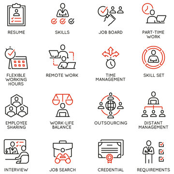 Vector Set of Linear Icons Related to Remote Work from Home, Freelance Worker with Laptop, Workspace, Online Job. Mono Line Pictograms and Infographics Design Elements