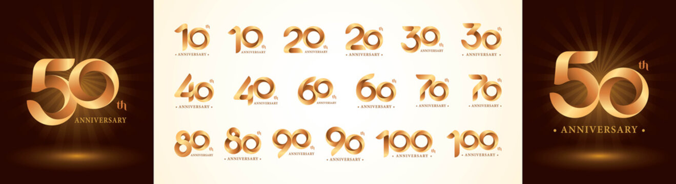 Set of 10 to 100th Anniversary logotype design, Twist Ribbons Logo, Origami stylized Number