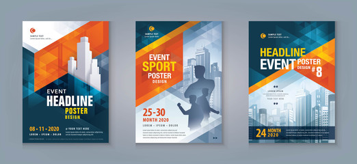 Business Flyer Poster Design Set. Layout Template, Abstract Red and Blue Geometric Triangle