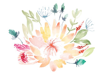 Watercolor organic protea bouquet painted