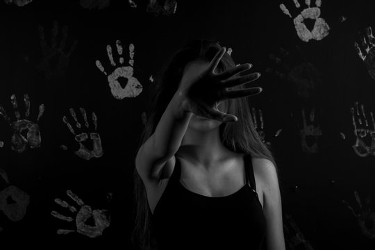 No violence to the drawn woman on a black background