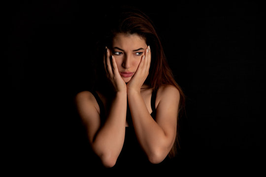 Girl depressed from loneliness and stress