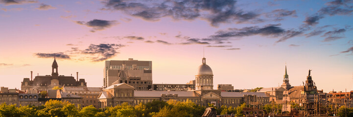 Wall Mural - Panorama of the city skyine of Old Montreal at sunset, Quebec, Canada