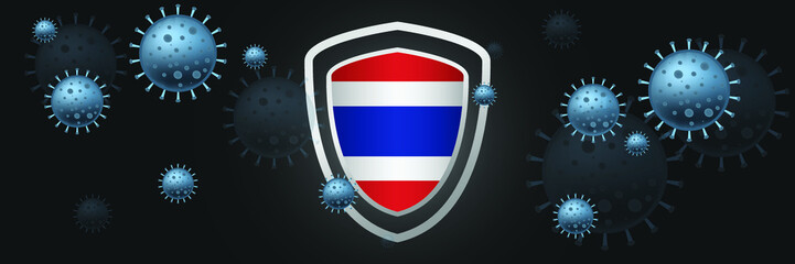 THAILAND Illustrated design with the concept of defense shield and country flag that was attacked by coronavirus outbreaks