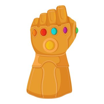 Thanos glove with infinity stones. Thanos titanium gauntlet all inserted gems of eternity red purple green сoncept invincible power, universal power glove gold with cartoon multi vector crystals.